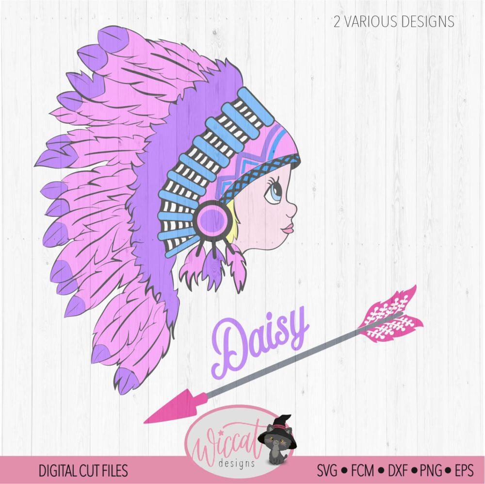 Indian Boho girl, Young Free svg, headdress svg, girls T shirt svg