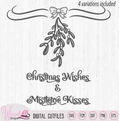 Christmas Mistletoe Wishes, glass block svg, Corner border, Mistletoe decal svg, dxf file, cricut svg, scanncut fcm, christmas decoration