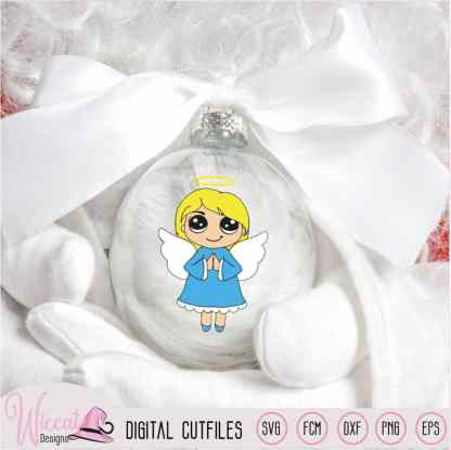 Praying Christmas angel, Kawaii angel,
