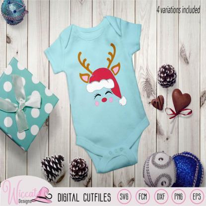 Hipster deer head with hat, Reindeer face svg, Christmas hat svg