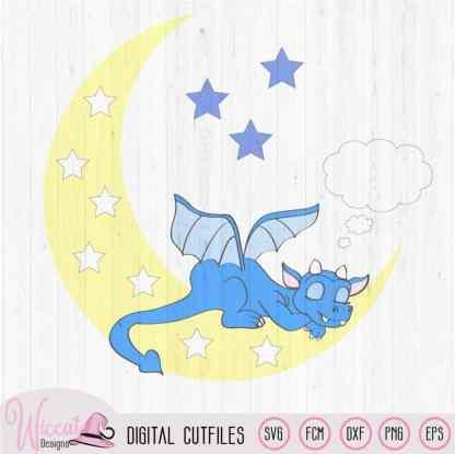 Sleeping Dragon on the moon, baby dragon svg, Nursery dragon, baby gift, newborn dxf file, svg cricut, vinyl craft, wall decor, Scanncut