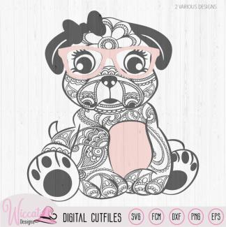 Hipster paisley pug, doodle pug hond