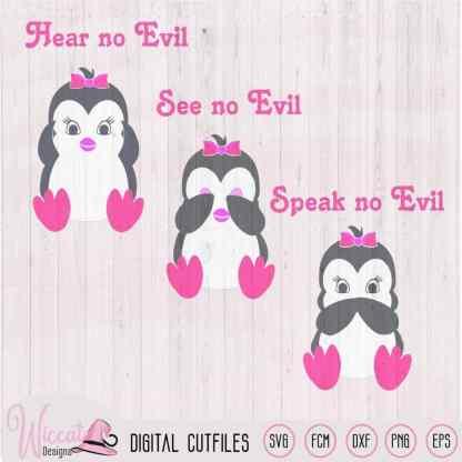 Girl penguin, hear see and speak no evil