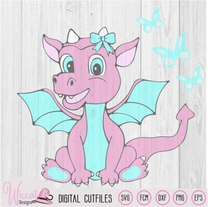 Dragon baby girl, Baby animals , Fantasy animals, SVG, PNG, FCM and DXF file.