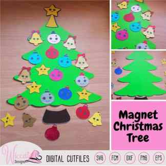 Christmas Kawaii tree, Kawaii Ornaments svg,