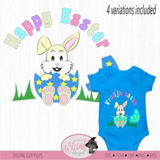 Paashaas in een ei voor jongen en meisje vrolijk Pasen