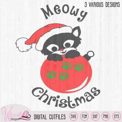 Christmas cat svg, Happy christmas, Cat ornament svg,