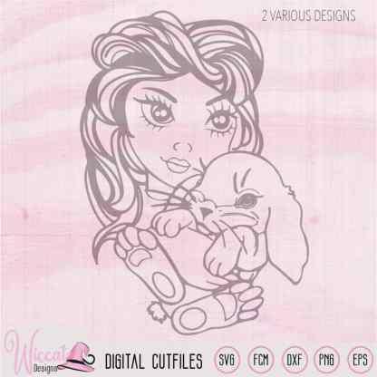 Girl face with Rabbit svg, Line art Bunny girl