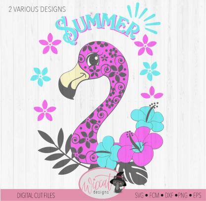 Doodle flower Flamingo, summer design