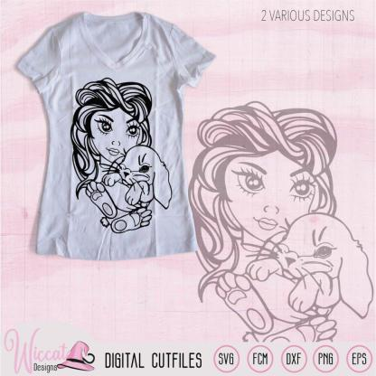 Girl face with Rabbit svg, Line art Bunny girl