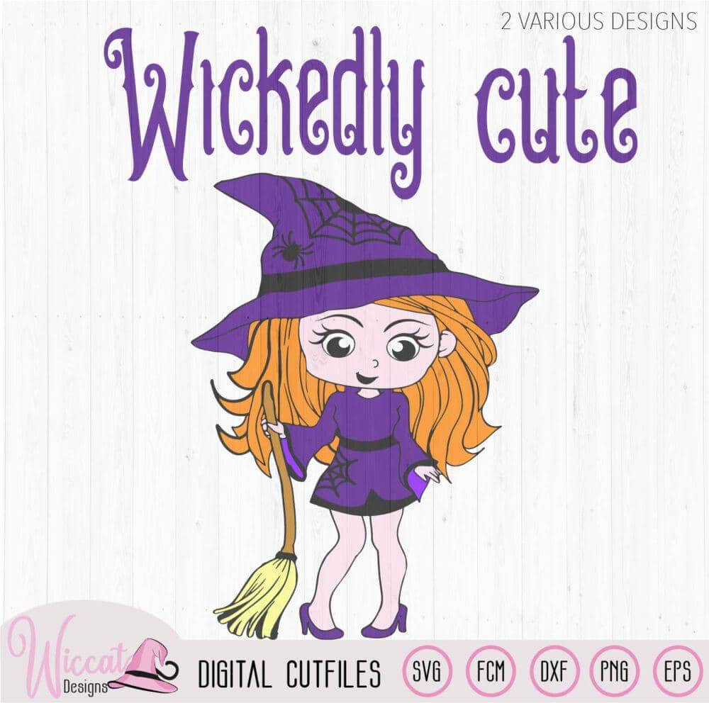 Little Witch Wickedly Cute Svg Wiccat Designs
