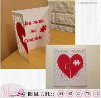 Lattice Valentine puzzle heart Card template