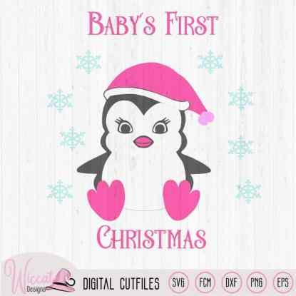 Christmas girl penguin svg, Baby girl cut file
