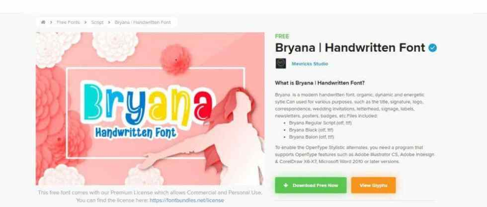 Bryana | Handwritten Font