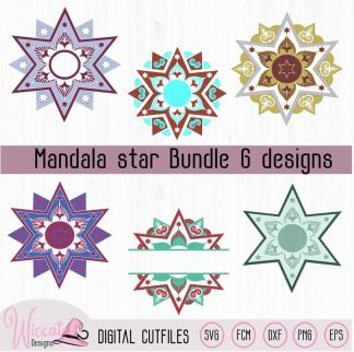 Mandala star bundle, Christmas star svg