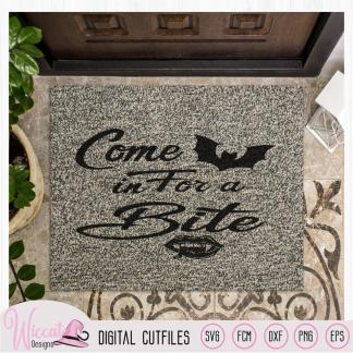 Come in for a bite, doormat  quote, halloween sign