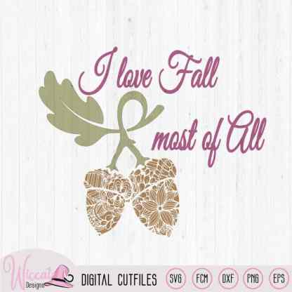 I love fall Doodle acorn, fall quotes yard sign