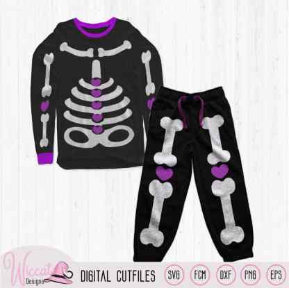 Girl skeleton with hearts, costume for girls svg