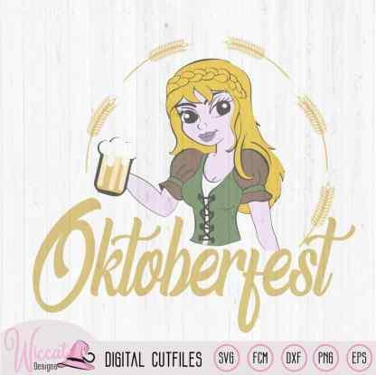 Oktoberfest girl in lederhosen