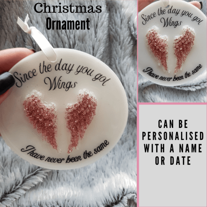 Ornament with 3D wings, Memorial ornament, tree decoration