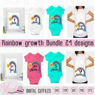 Rainbow monthly growth bundle, Rainbow baby