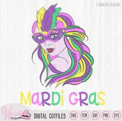 Mardi gras Girl with mask svg, carnival masker