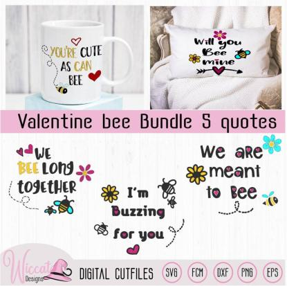 Valentine Bee bundle, Bumblebee cut file