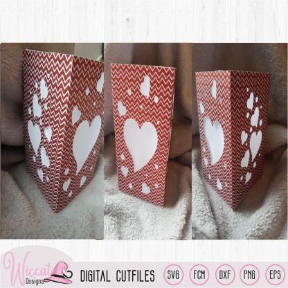 Valentine heart lantern template, floating hearts svg