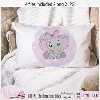 Pink Baby girl elephant sublimation file for printing
