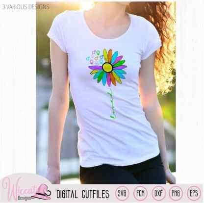 Rainbow Sunflower loved, Women sign, Men sign,