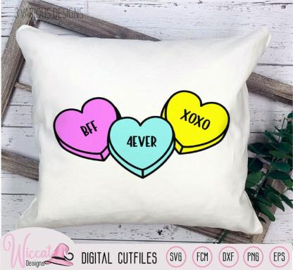 Candy conversation hearts, love text hearts,