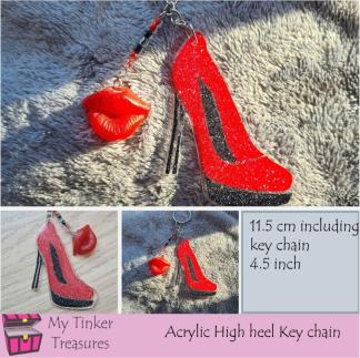 Red glitter High Heel with lips charm key chain,