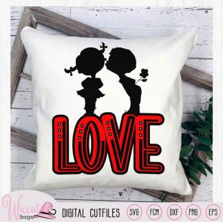 Cute young love couple silhouette valentine home decor