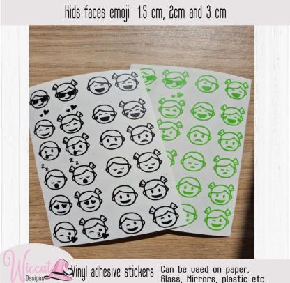kid faces emoji decal, back to school mood stickers,
