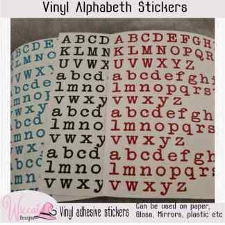 Typmachine letter stickers, vinyl sticker vel