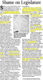 Shame on Legislature - Rhonda Holman