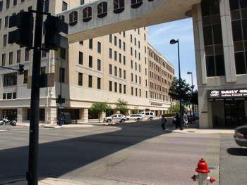 View from parking garage, 215 S. Market, August 2009