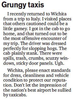 Letter in Wichita Eagle, excerpt