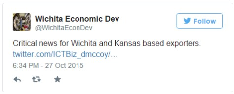 Wichita city tweet expressing approval of renewal of Export-Import Bank.