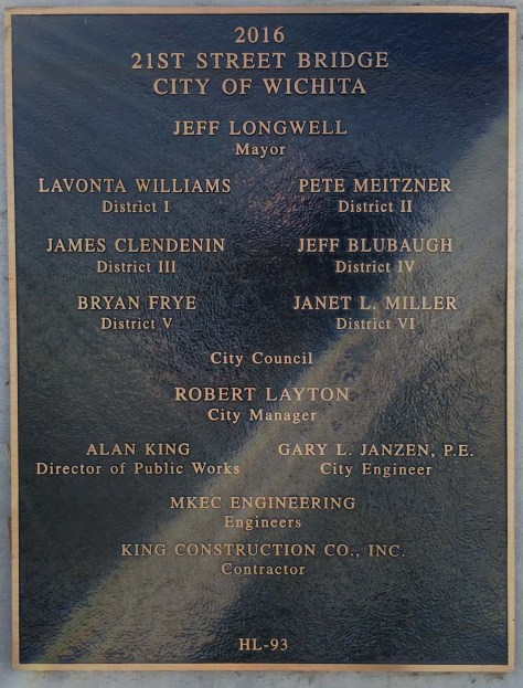 The memorial plaque celebrating the accomplishment on East Twenty-First Street in Wichita. The flare from the sun is a defect of this photograph, not the marker. Click for larger.