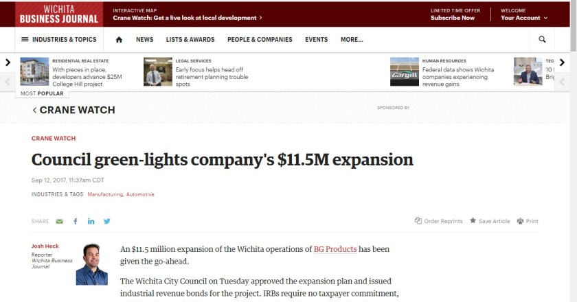 Wichita Business Journal grants city council excess power