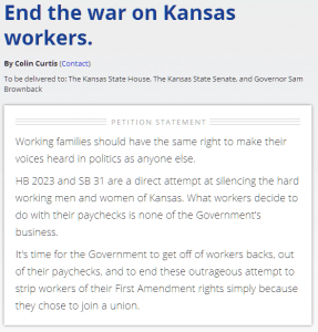 End the War on Kansas Workers Petition