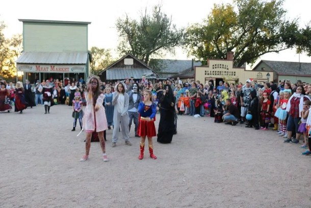 Kids in costume for Halloween event at Old Cowtown Museum