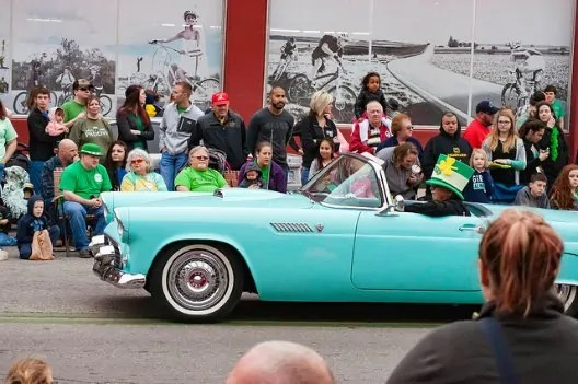 Classic car in Wichita's St. Patrick's Day parade