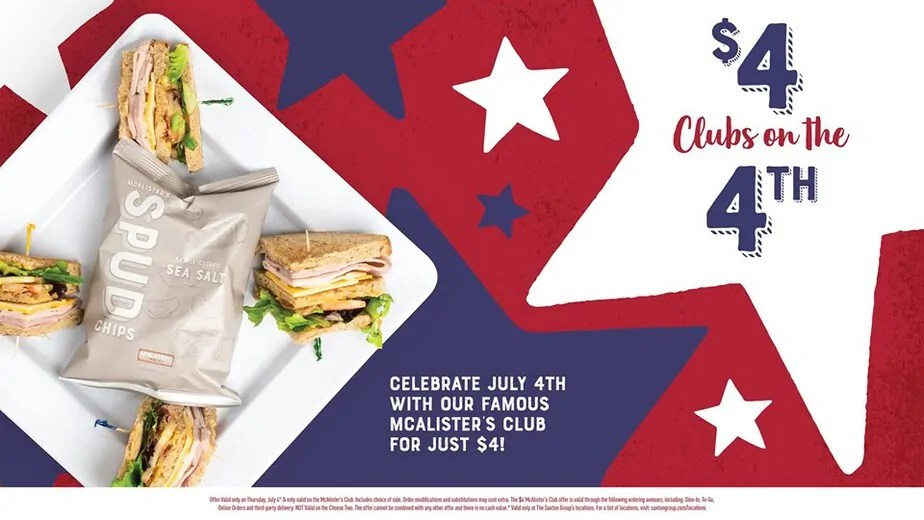 photo relating to Mcalister's Coupons Printable called $4 Golf equipment at McAlisters Deli upon the 4th of July