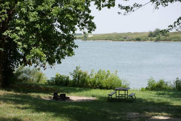 Picnic table on the edge of McPherson State Fishing Lake