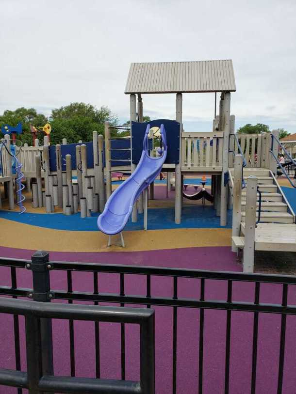 Slide at boundless playground in Sedgwick County Park