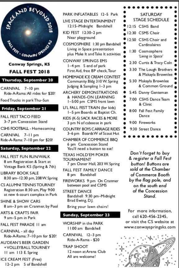 conway springs fall festival event schedule