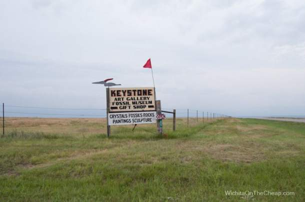Sign that marks the entrance of Keystone Gallery near Monument Rocks in Western Kansas