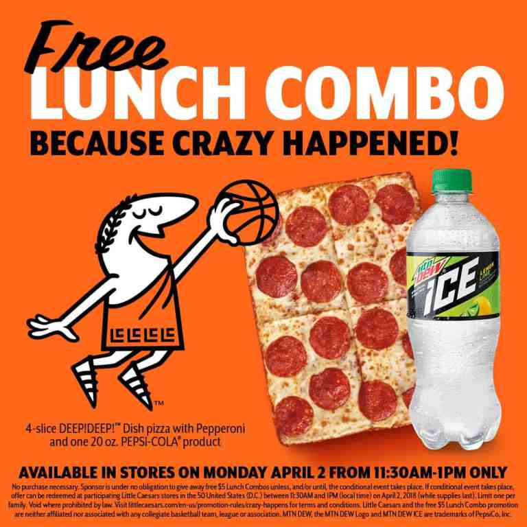 graphic regarding Little Caesars Printable Application named Outrageous occurred. Cost-free lunch combo at Small Caesars April 2